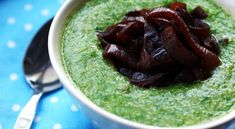 Watercress Quinoa Soup With Balsamic Onions - Veganuary