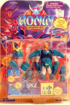 Ronin Warriors Sage by Playmates. $29.99. Featuring power coil spring action! Samurai Snap-on armor and weapons!. Sage - Ronin Warrior of Wisdom!. Made by Playmates Toys in 1995 and long out of production.. Sage is part of the Ronin Worriors 6 inches tall action figure line.. Playmates produced this line of 6 inch action figures based on the animated samurais of Ronin Warriors. Sage, the Ronin Warrior of Wisdom, comes complete with samurai plug-on armor and weapo...