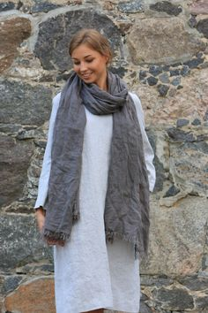 Linen Scarf. Natural linen scarf, Flax Scarf, warm linen scarf, Soft Pure Linen Scarf, summer scarf