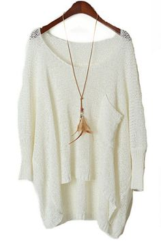 White Long Sleeve Pocket Loose Batwing Sweater - Sheinside.com