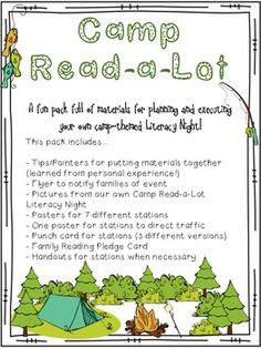 Camping art Camp Read-a-Lot Literacy Night Materials Reading Themes, Reading Activities, Literacy Activities, Parent Night, Family Fun Night, Read A Thon, Reading Incentives, Math Night, Camping Theme
