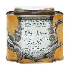 Old Silver Teapot Blend: This Edwardian blend of fine Ceylon and Darjeeling leaves was first sold at Fortnum's in 1914. Recently retrieved from our archive, it has been revived for a modern audience, and is presented in a beautiful retro-style caddy.