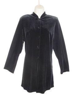 Black Stretch Velvet Retro Smart Tunic Top Jacket 12 Manderin Collar by EWM
