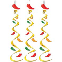 These festive and colorful chili pepper whirls will be the hit of your Cinco De Mayo party or any other event that needs a little spice. Gold whirls with large red chili pepper at top and little peppe