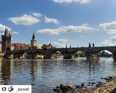 #Repost @_axwel View to Charles Bridge Prague  Karlův most Praha  #praga #karluvmost #charles #bridge #prague #moldava #river #visitCZ #visitpraha #praguetoday #view #visitprague #morning #sky #clouds #water
