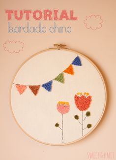 Crewel Embroidery Tutorial Sweet: Tutorial Bordado Chino (o Punch Needle) Crewel Embroidery, Hand Embroidery Stitches, Embroidery Patterns, Embroidery Hoops, Punch Needle Patterns, Cross Stitch Patterns, Diy Trend, Brazilian Embroidery, Rug Hooking