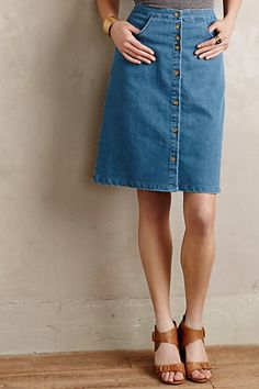 Willa Denim A-Line Skirt #anthropologie In-person or virtual Presenting Your Best You style sessions available. www.meredethmcmahon.com #imageconsulting #personalbranding
