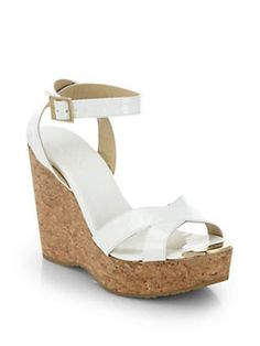 2e6abf95265 saks in black tan and white Jimmy Choo - Papyrus Patent Leather and Cork  Wedge Sandals