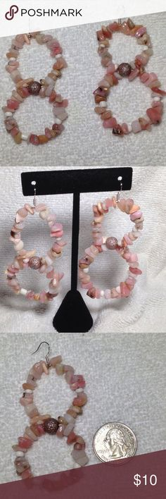 Large Pink Opal Double Hoop Earrings Wow! You'll surely turn some heads with these large natural stone earrings. They are made with pink opal chips. They're about three inches long and heavyweight. The hooks are stamped 925 sterling silver. Check my closet for matching jewelry! These earrings and all PeaceFrog jewelry items are made by me. PeaceFrog Jewelry Earrings