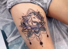 53 Best Unicorn Tattoo Designs For Women . 53 Best Unicorn Tattoo Designs For Women . As far a girly tattoos go, unicorn designs are among the most popular, and Horse Tattoo Design, Thigh Tattoo Designs, Tattoo Sleeve Designs, Tattoo Designs For Women, Sleeve Tattoos, Tattoos For Women, Sexy Tattoos, Bild Tattoos, Feminine Tattoos