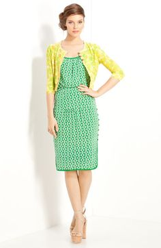 Tracy Reese Tulip Print Cardigan available at #Nordstrom. I just really like this outfit, love green and yellow together.