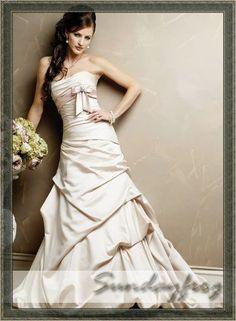 satin ruffled A line wedding dress - Google Search
