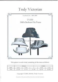 Truly Victorian TV550 SEWING PATTERN for buckram hat frame and hat #TrulyVictorian