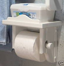 White wood toilet paper holder with shelf