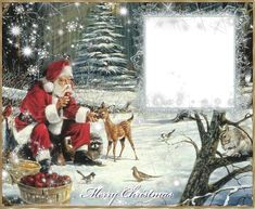 Christmas PNG Photo Frame with Santa
