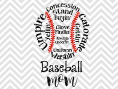 Baseball Mom shirt decal cheering, concession stand, umpire SVG file - Cut File - Cricut projects - cricut ideas - cricut explore - silhouette cameo projects - Silhouette projects  by KristinAmandaDesigns