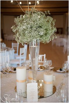 Tall centerpiece baby's breath - winter wedding - little tree studios photography - posy Winter Centerpieces, Wedding Reception Centerpieces, Wedding Bouquets, Wedding Flowers, Tall Centerpiece, Cream Wedding, Wedding Sets, Farm Wedding, Wedding Themes
