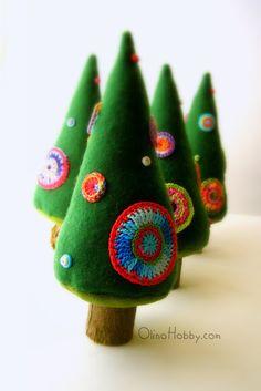 OlinoHobby - handstitched zateyki: Albero di Natale abete in feltro / alberi di Natale in feltro
