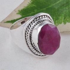 RUBY RING 925 SOLID STERLING SILVER DESIGNER FANCY JEWELLERY 6.44g R01602 #Handmade #GEMSTONERING