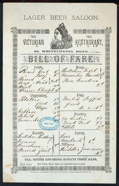 Victorian Bill of Fare for food