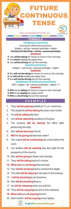 Future Continuous Tense Examples, Formula & Rules: Future continuous/progressive tense is used to describe the action that will be taking place at some time in the future. Teaching English Grammar, Grammar And Vocabulary, Grammar Lessons, English Test, Future Tense, Verb Tenses, Improve Your English, Sentences, Lesson Plans