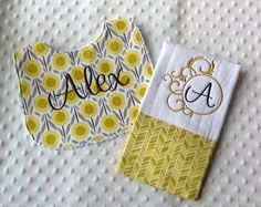 Baby Girl Personalized 2 Piece Gift Set  - Bib and Burp Cloth-Yellow and Gray Modern Flowers
