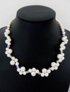 Blanco collar de perlas collar de perlas de por AllthingsBAB