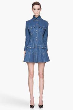 Balmain Blue Cotton Twill Denim Dress for women | SSENSE