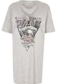 River Island Womens Grey print ring choker oversized band T-shirt