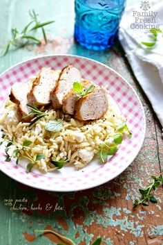 Orzo Pasta with Chicken, Fresh Herbs & Feta | recipe on MarlaMeridith.com