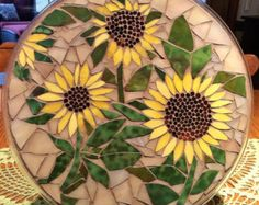 Shop for sunflower mosaic on Etsy, the place to express your creativity through the buying and selling of handmade and vintage goods.Stained glass mosaic plate or just a piece of Mosaic Garden Art, Mosaic Art, Mosaic Glass, Glass Art, Mosaics, Mosaic Projects, Mosaic Crafts, Stained Glass Projects, Mosaic Flowers
