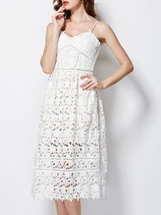 White Backless Crochet Hollow Out Dress