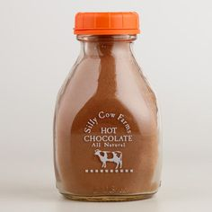 Full of irresistible chocolate and spicy pumpkin flavor, Silly Cow Farms Chocolate Pumpkin Cocoa --- is a decadent mix of all natural and organic ingredients. Packaged in a classic, reusable glass milk bottle, this cocoa mix makes a lovely gift.