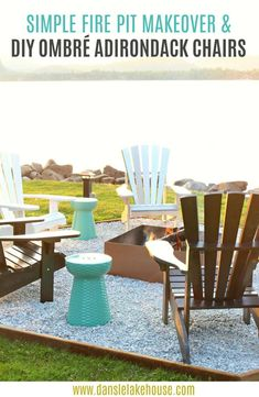 Easy DIY Fire Pit Makeover + DIY Ombre Adirondack Chairs (Sponsored by The Home Depot Canada). Love the turquoise garden stools and hexgaon shaped fire pit design - such an easy outdoor project! Types Of Furniture, Outdoor Furniture Sets, Funky Furniture, Plywood Furniture, Furniture Design, Rustic Outdoor Decor, Fire Pit Area, Fire Pits, Fire Pit Designs