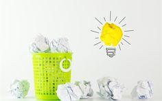 Télécharger fonds d'écran idée concept, 4k, corbeille à papier, de papier, une lampe, une idée