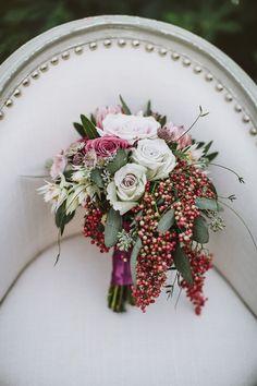 winter wedding bouquet - photo by Kate Ann Photography http://ruffledblog.com/burgundy-winter-wedding-ideas #bouquets #weddingbouquet #flowers