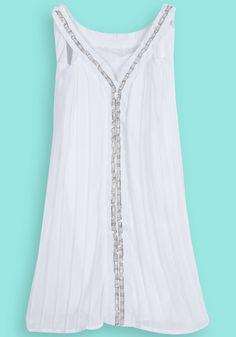 White Sleeveless Chain Embellished Chiffon Dress <3