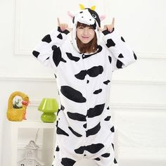 Cute Little Cow - Unisex Flannel Hooded Onesie Pajamas for Adults c2421f4ed