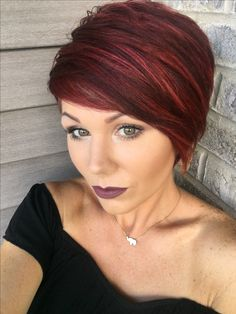 Red pixie with highlights