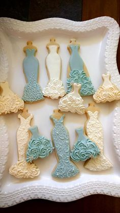 Blue and White Wedding Entourage Dress Cookies- 10 Bridal Shower Cookies, Wedding Giveaway, Winter Wedding, Bridesmaid Gifts Fancy Cookies, Iced Cookies, Cute Cookies, Royal Icing Cookies, Cookies Et Biscuits, Cupcake Cookies, Sugar Cookies, Cookie Favors, Flower Cookies