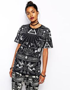 Kill Star T-Shirt With All Over Egyptian Symbol Print Co-Ord