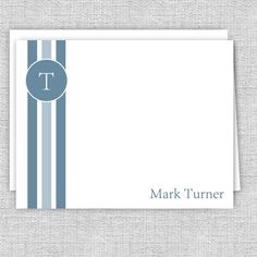 Men's Personalized Note Cards - Blue Vertical Stripes Web Address, Small Letters, Personalized Note Cards, Vertical Stripes, White Envelopes, Texts, Card Stock, I Shop, Initials