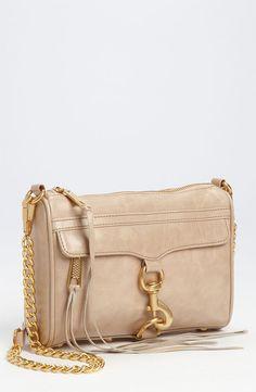 Rebecca Minkoff mini cross body purse (in taupe). Soo cute and perfect size! Cute Purses, Purses And Bags, Mini Handbags, Chanel, Purse Wallet, Rebecca Minkoff, Bag Accessories, Designer, Cross Body