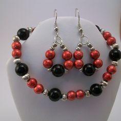Red and Black Beaded Bracelet and Earring Set by KEleniK on Etsy, $15.00