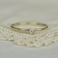 Small White Diamond Gold Ring