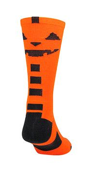 TCK Halloween Jack O Lantern Crew Socks Product Features Sizes: Small - Large Moisture/Odor Control Antimicrobial Arch Compression and Heel/Toe Construction Blister Control, Breathable Mesh, Ergonomic Cushioning Fiber Contents: 77% Polypropylene, 17% Nylon, 3% Elastic, 3% Lycra Spandex
