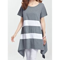 Striped Loose-Fitting Casual Scoop Neck Short Sleeve Women's T-Shirt