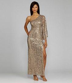 bridesmaid. sequin. one shoulder. one sleeve. slit leg. champagne gold. long.