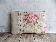 time for tea ♥ This darling pouch is made with a delightfully shabby pink and cream, tea and roses fabric., very pretty