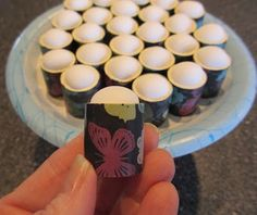 "Homemade stamp/ink Daubers: PVC pipe cut into 3/4"" (guesstimate) and stuffed with make up sponges (which can be changed out when they are really used up). Try this!"